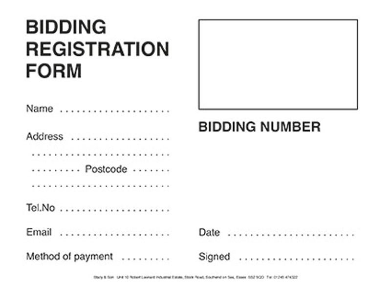 Bidder Registration Cards