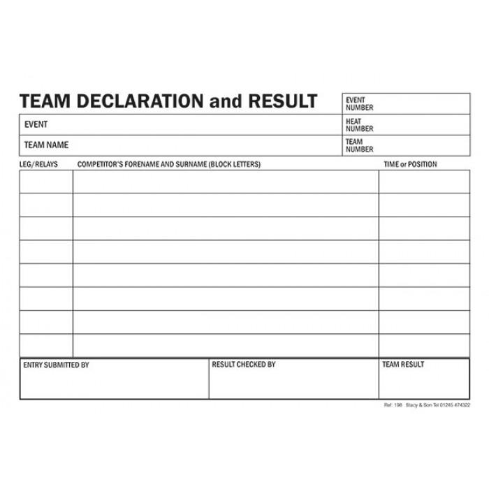 Team Declaration Cards