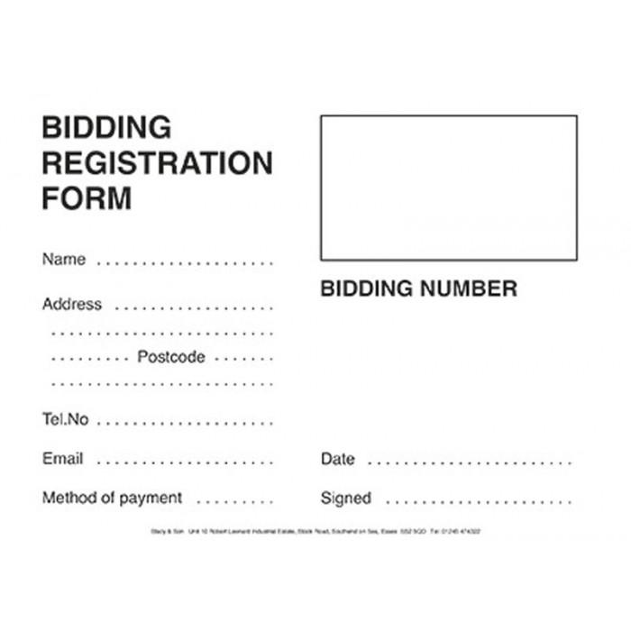 Bidder Registration Cards