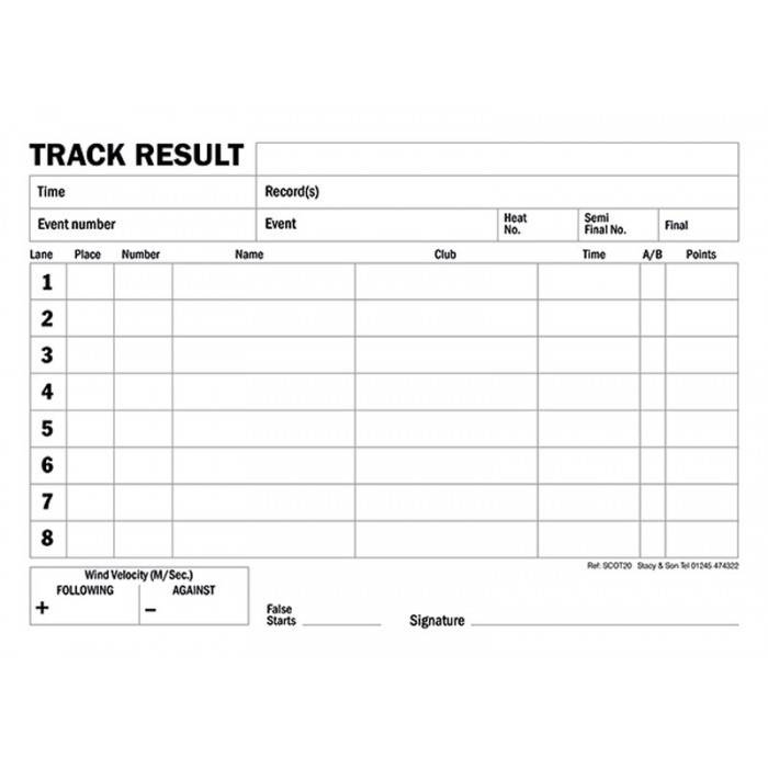 8 Lane Track Result Pad (Scotland) Ref Scot20